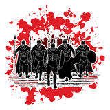 Spartan warrior. Group of Spartan warrior walking with a spear designed on splatter blood background graphic vector Royalty Free Stock Photos