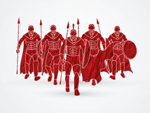 Spartan warrior. Group of Spartan warrior walking with a spear designed using red grunge brush graphic vector Stock Photography