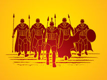 Spartan warrior. Group of Spartan warrior walking with a spear graphic vector Royalty Free Stock Photos