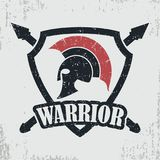 Spartan warrior grunge stamp. Print for t-shirt with Greek or Rome   Stock Images
