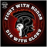 Spartan warrior head. knight logo. trojan helmet. Vector illustration Stock Photography