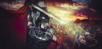 Spartan warrior helmet, armor and red cape on a battlefield, con Royalty Free Stock Photo