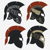 Spartan warrior Helmet. Spartan Helmet logo set, Greek warrior, Gladiator emblem, legionnaire heroic soldier. vector Stock Photos