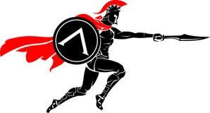 Spartan Warrior Leap Sword Attack Photos libres de droits