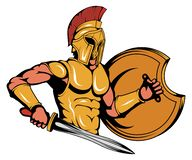 Spartan Warrior Mascot Graphic, roman warrior with a traditional weapon, spartan warrior in gold armor, suitable as logo or team. Mascot, roman warrior with a royalty free illustration