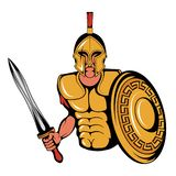 Spartan Warrior Mascot Graphic, roman warrior with a traditional weapon, spartan warrior in gold armor, suitable as logo or team. Mascot, roman warrior with a vector illustration
