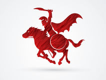 Spartan warrior riders with a sword. Ready to fight designed using red grunge brush graphic vector Stock Image