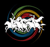 3 Spartan warrior riding horses. Designed on spin wheel graphic vector Royalty Free Stock Photography