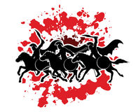 3 Spartan warrior riding horses. Designed on splash blood graphic vector Royalty Free Stock Photo