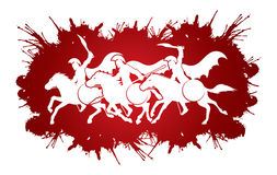 3 Spartan warrior riding horses. Designed on splatter blood graphic vector Royalty Free Stock Images