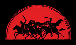 3 Spartan warrior riding horses. Designed on sunlight blood graphic vector Stock Photo