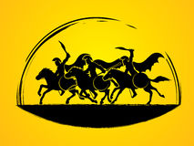 3 Spartan warrior riding horses. Designed using black brush graphic vector Stock Images