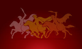 3 Spartan warrior riding horses. Designed using dot pixels graphic vector Royalty Free Stock Image