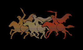 3 Spartan warrior riding horses. Designed using geometric pattern graphic vector Royalty Free Stock Image