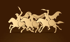 3 Spartan warrior riding horses. Designed using gold color graphic vector Stock Images
