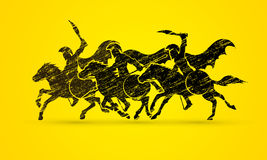 3 Spartan warrior riding horses. Designed using grunge brush graphic vector Stock Image