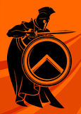 Spartan Warrior Stance. Skillful warrior silhouette, ready to fight Royalty Free Stock Images