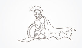 Spartan warrior with sword and shield Stock Image