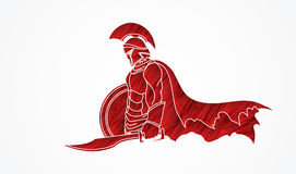 Spartan warrior with sword and shield Royalty Free Stock Photography
