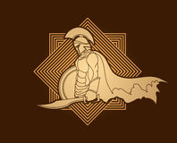Spartan warrior with sword and shield Stock Images