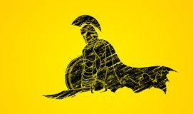 Spartan warrior with sword and shield Royalty Free Stock Photo