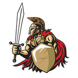 Spartan Warrior Vector Mascot Stock Afbeeldingen