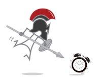 Spartan Warrior vs alarm clock Stock Photography