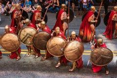 Spartan Warriors From Movie 300 neemt aan Dragon Con Parade deel stock afbeelding