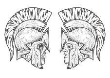 Spartan warriors. Two variants Stock Photography