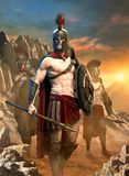 Spartanische Illustration der Kriegersszene 3D stockfotografie