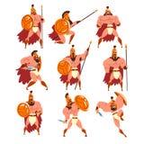 Spartanische Krieger in der goldenen Rüstung und im roten Kapsatz, alte Soldatcharaktere vector Illustrationen auf einem Weiß Vektor Abbildung