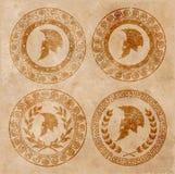 Spartanischer Sturzhelm eine Ikone auf altem Papier im Artschmutz Stockfotos