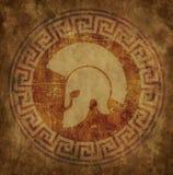 Spartanischer Sturzhelm eine Ikone auf altem Papier im Artschmutz, ist herausgegebenes i Lizenzfreie Stockfotos