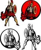 Spartanisches/Trojan Maskottchen-Zeichen Stockfotos