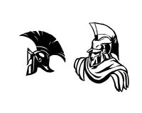 Spartans helmet full face silhouette. Gladiator soldier or greek warrior or roman legionary, hero sign, vector Stock Image