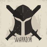 Spartansk hjälm med den korsade svärd och bokstäverkrigaren Grekisk krigaretypografi för t-skjorta diagram royaltyfri illustrationer
