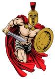 Spartansk krigaremaskot Arkivbild