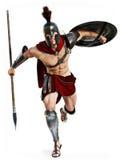 Spartansk laddning, full längdillustration av en spartansk krigare i stridklänning som anfaller på en vit bakgrund royaltyfri illustrationer