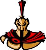 spartansk trojan för logomaskot royaltyfri illustrationer
