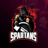 Spartansk vektor för maskotlogodesign med modern illustrationbegreppsstil för emblem-, emblem- och tshirtutskrift spartanskt royaltyfri illustrationer