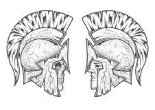 Spartanska krigare Två varianter Arkivbild
