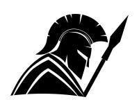 Spartanskt svart tecken royaltyfri illustrationer