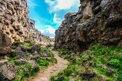 Spartiacque continentale nel parco nazionale di Thingvellir, Islanda Immagine Stock