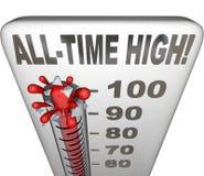 Spartito caldo di calore del termometro dell'interruttore record di punto più alto della storia Fotografie Stock Libere da Diritti