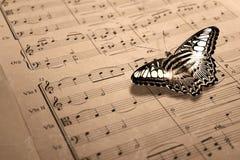 Spartito di musica con la farfalla Fotografie Stock