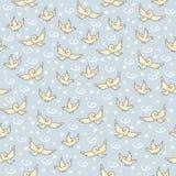Sparvmodell Gullig sömlös modell med små fåglar på blå bakgrund royaltyfri illustrationer