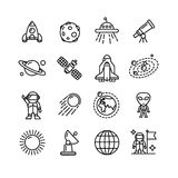Spase Outline Black and White Icons Set. Vector Stock Images
