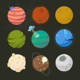 Spase planeter för design, uppdiktade planeter, stil för brigntutrymmetecknad film royaltyfri illustrationer