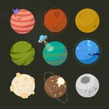 Spase planets for design, fictional planets, brignt space cartoon style.  Royalty Free Stock Images