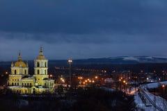 Spaso普列奥布拉任斯基大教堂在清早,被阐明 库存图片